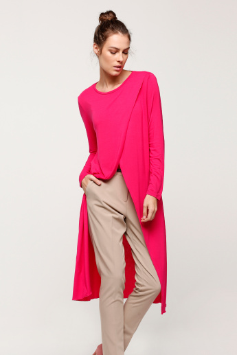 Round Neck Long Line Top with Long Sleeves