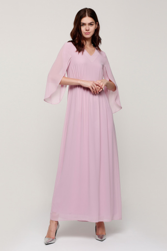 V-Neck Maxi Dress with 3/4 Sleeves
