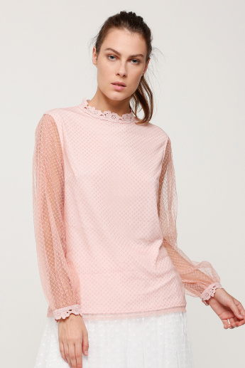 Round Neck Top with Long Sleeves and Lace Detail