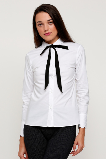 Shirt with Long Sleeves and Button Placket