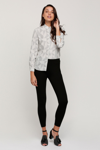 Printed Shirt with Concealed Placket and Long Sleeves