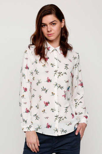 Printed Shirt with Long Sleeves and Button Placket