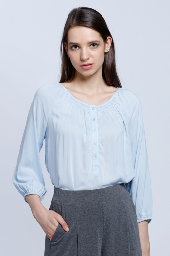 Woven Top with Henley Neck