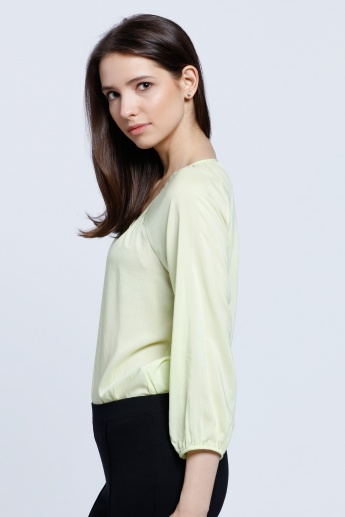 Henley Neck Top with 3/4 Sleeves