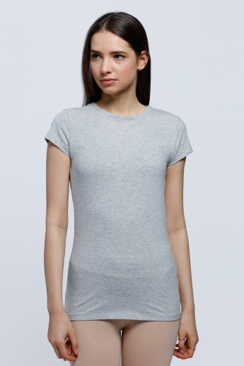 Melange T-Shirt with Round Neck and Short Sleeves