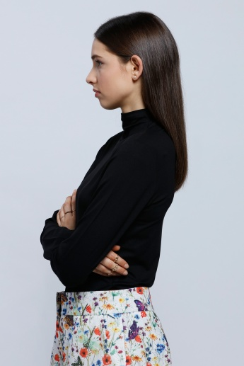 Embroidered T-Shirt with Long Sleeves and Turtle Neck