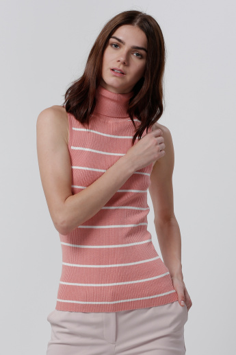 Turtle Neck Striped Sleeves T-Shirt