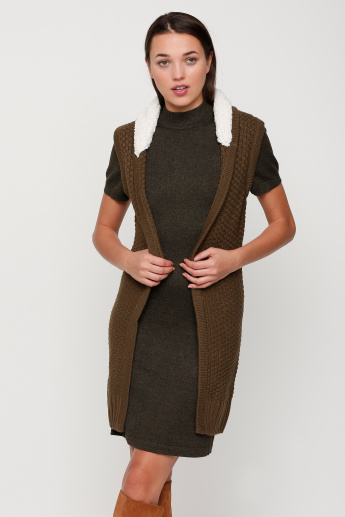 Textured Sleeveless Cardigan with Plush Neck Detail