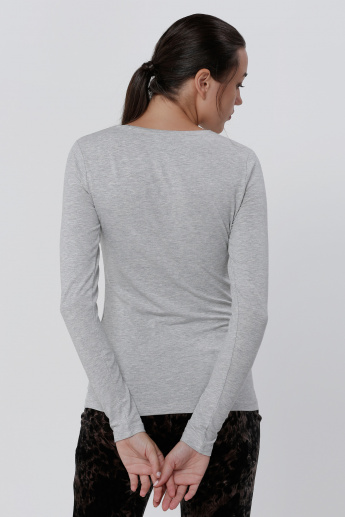 Melange Round Neck T-Shirt with Long Sleeves