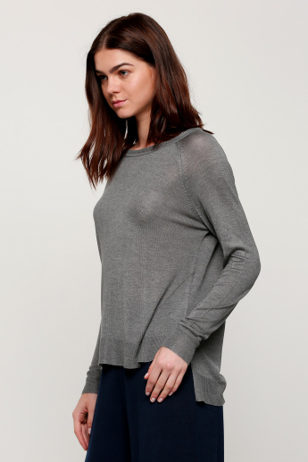 Round Neck Sweater with Long Sleeves and High Low Hem
