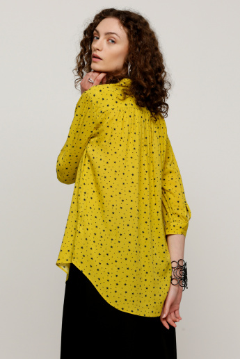 Printed Top with 3/4 Sleeves and High Low Hem