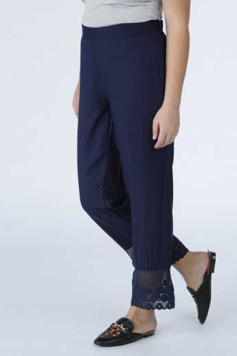 Full Length Pants with Elasticised Waistband and Lace Detail