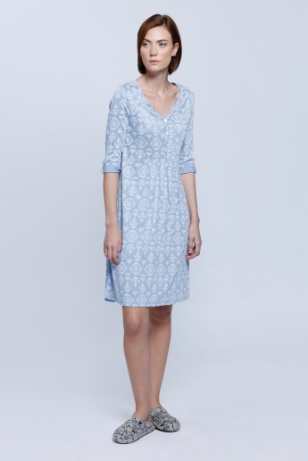 Printed Roll Up Sleeves Dress
