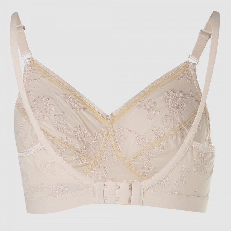 Embroidered Bra with Adjustable Straps