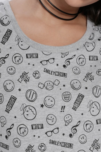 Sustainability Smiley World Printed T-Shirt with Round Neck and Short Sleeves