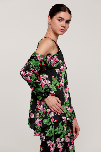Printed Top with Asymmetric Hem