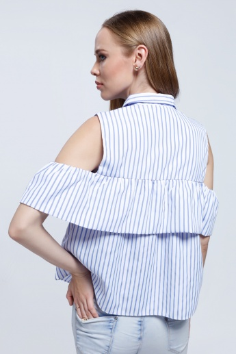 2Xtremz Striped Cold Shoulder Shirt with Ruffle Pattern