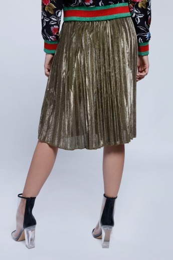 2Xtremz Shiny Pleated Skirt with Elasticised Waistband
