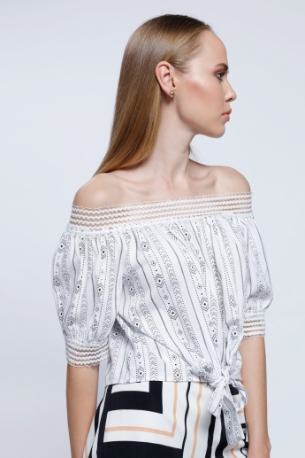 2Xtremz Lace Yoke Off Shoulder Top with 3/4 Sleeves