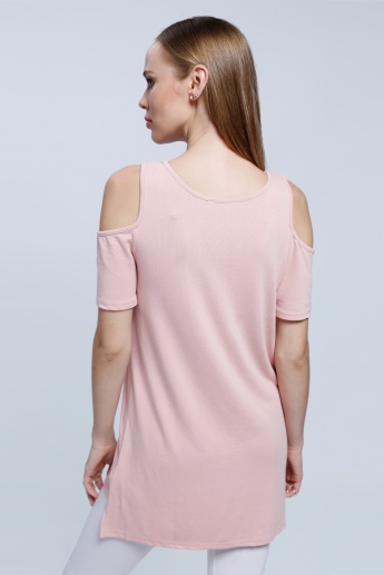 2Xtremz Cold Shoulder Top with Side Slit and Round Neck