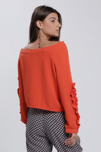 Off Shoulder Top with Long Sleeves and Ruffle Detail
