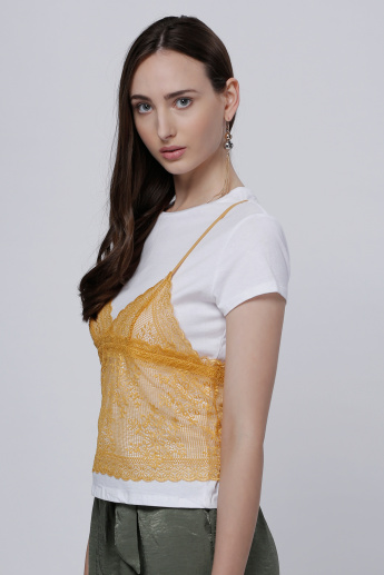 Round Neck Double Layer Lace T-Shirt with Short Sleeves