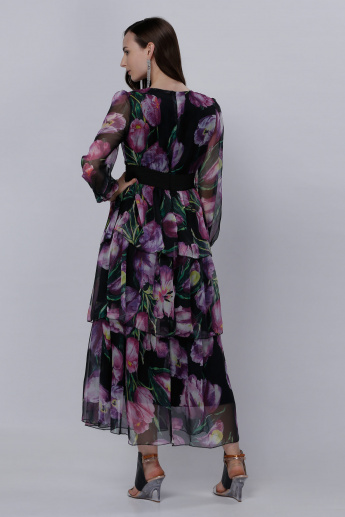 Printed Frilled Maxi Dress with Round Neck and Long Sleeves