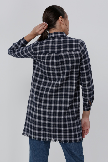 Chequered Tunic with Flap Pockets and Long Sleeves