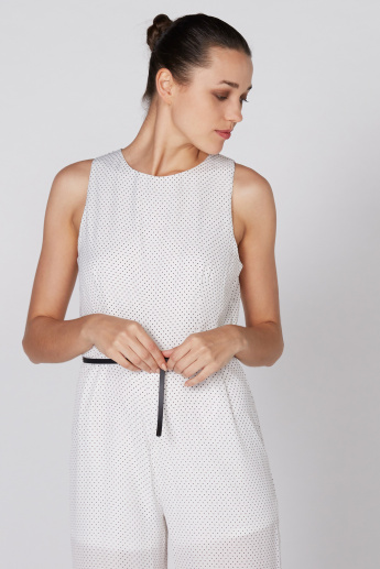 Polka Dot Printed Sleeveless Jumpsuit with Belt Detail