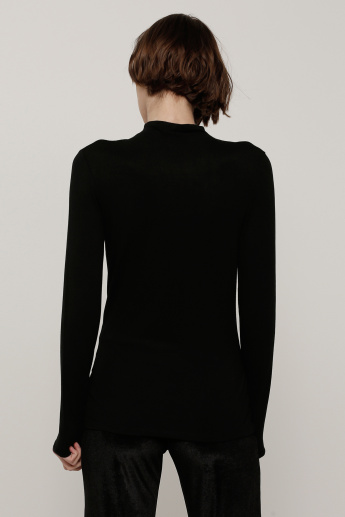 Funnel Neck Top with Long Sleeves