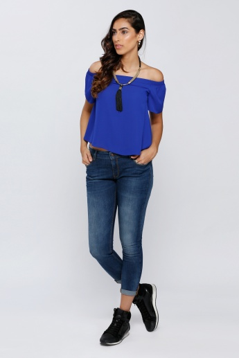 Off Shoulder Top with Short Sleeves