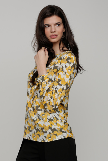 Printed Round Neck Top with Long Sleeves