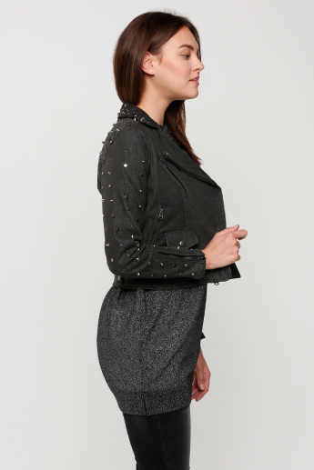 Embellished Jacket with Long Sleeves and Zip Closure